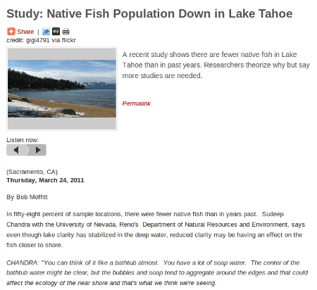 Capital Public Radio talks Tahoe fish