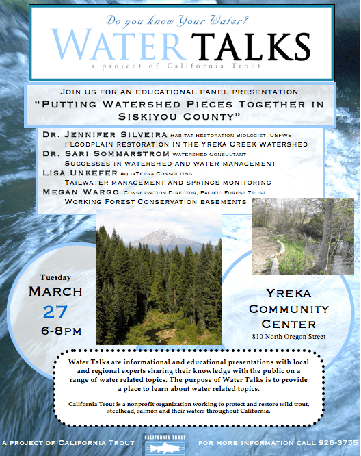 March 27th Water Talks in Yreka