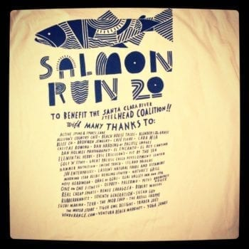 Patagonia Salmon Run T-shirts with a Coalition shout out.