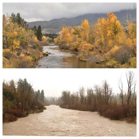Truckee River, before and after the storm. Photo by Julie Ryan Brooks.